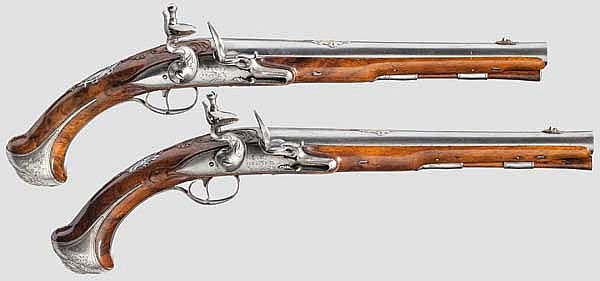 A pair of luxury flintlock pistols, Johann Christof Franck in Herzberg, circa 1750