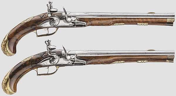 Ein Paar Steinschlosspistolen, J.U. Maentz in Braunschweig, um 1730/40