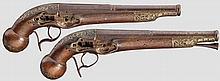 Ein Paar Steinschloss-Pistolenschäfte mit Läufen, Ripoll, Spanien um 1800