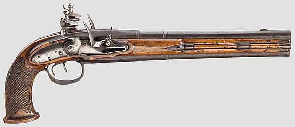 Doppelläufige Steinschlosspistole, deutsch um 1800