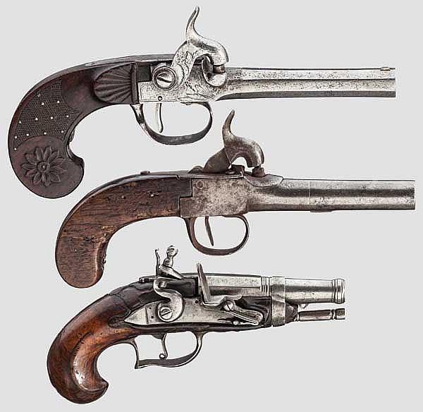 Steinschloss- und zwei Perkussionspistolen, französisch/deutsch, 18. bzw. 19. Jhdt.