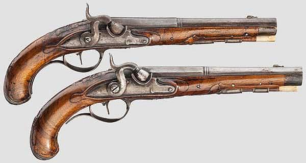 Ein Paar Perkussionspistolen, I.A.I. Winter, deutsch, Ende 18. Jhdt.