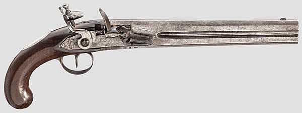 Doppelläufige Steinschlosspistole, William Jover, London um 1800