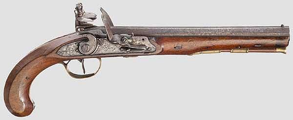 Zweischüssige Steinschlosspistole für hintereinanderliegende Ladungen, John Gray, Dublin um 1800