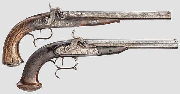 Zwei Perkussionspistolen, Lüttich bzw. Johann Adam Kuchenreuter, Regensburg um 1850