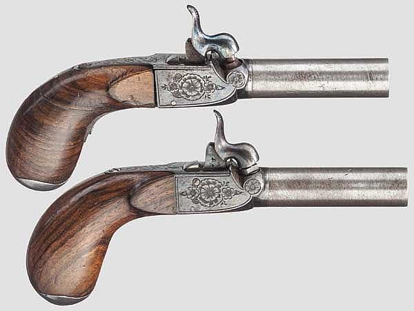Ein Paar Perkussions-Terzerole, deutsch(?) um 1850