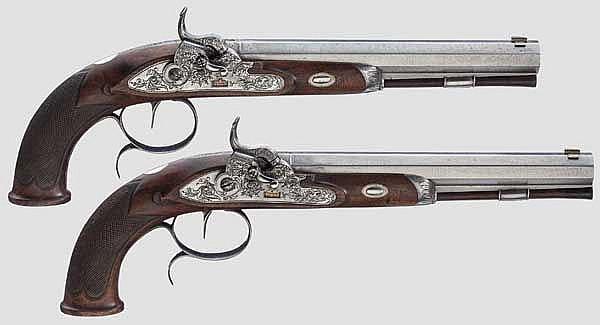 Ein Paar Perkussionspistolen im Kasten, Störmer, Herzberg um 1850
