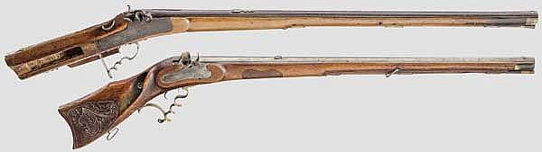 Zwei Schützen-Perkussionsgewehre, süddeutsch, 19. Jhdt.