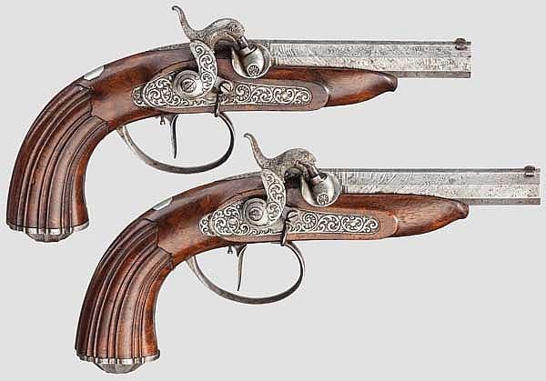 Ein Paar Perkussions-Reisepistolen, Johann Adam Kuchenreuter, Regensburg um 1850