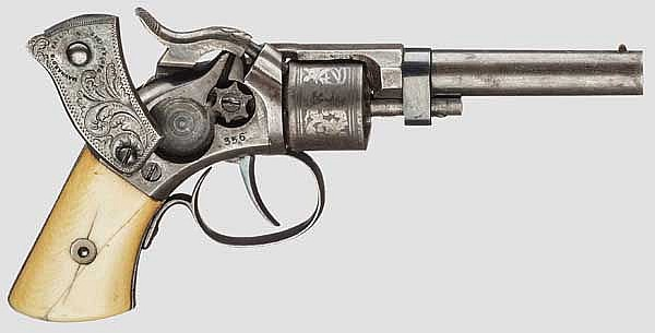 Massachusetts Arms Co. Maynard Primed Pocket Revolver, Automatically Revolved Cylinder Type, um 1857