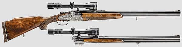 A rifle and shotgun combined/-double rifle, G. Glanznig Ferlach, in its case