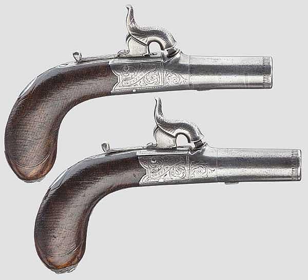 Ein Paar Perkussionsterzerole im Kasten, John Hetherington, Nottingham um 1840