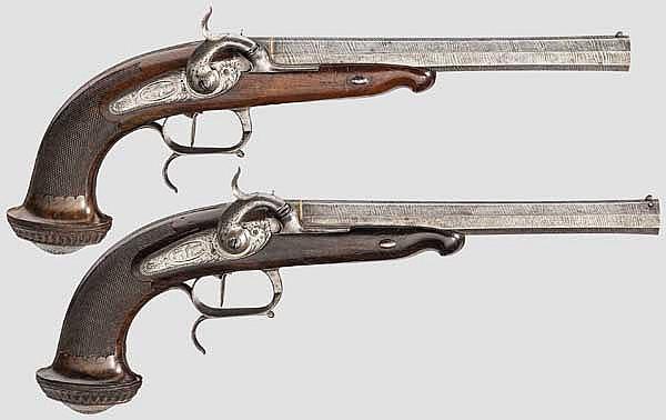Ein Paar Perkussionspistolen, Murgue, St. Etienne um 1840