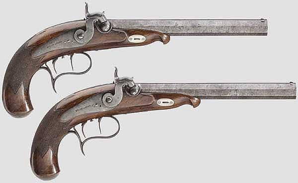 Ein Paar Scheibenpistolen, Müller in Bern um 1840