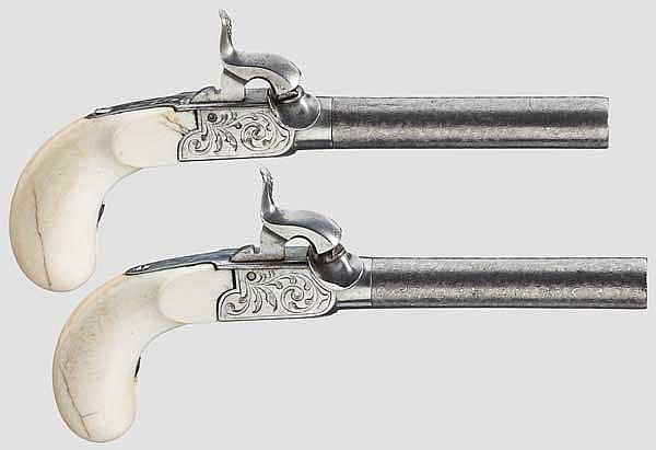 Ein Paar Elfenbein-Terzerole im Kasten, Lüttich um 1840