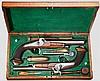 Ein Paar Offiziers-Perkussionspistolen im Kasten, Lüttich um 1840