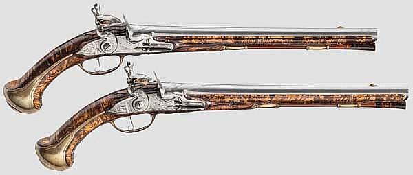 Ein Paar lange Reiterpistolen, Jacob Franck in Hannover, um 1720