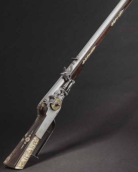 A Saxon wheellock rifle with bone veneer, Gotha, dated 1657