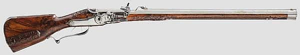 A wheellock rifle, Elias Schintzel, Berlin, dated 1690