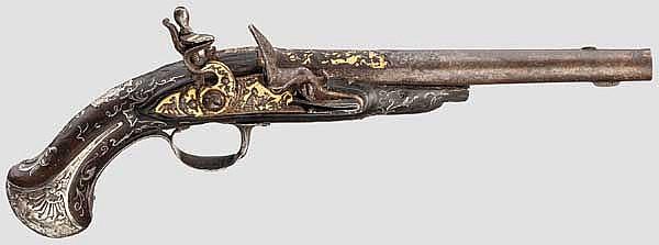 Silbermontierte Steinschlosspistole, Frankreich um 1760