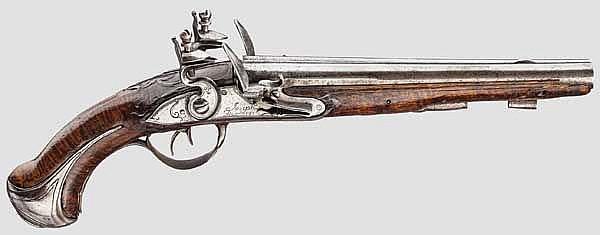 Doppelläufige Steinschlosspistole, Joseph Dumares, Frankreich um 1780