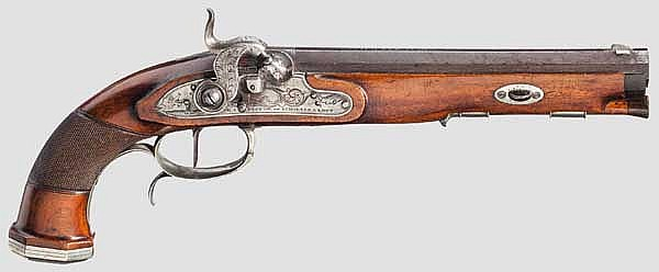 Perkussiosnpistole, G. & W. Pistor in Schmalkalden um 1830