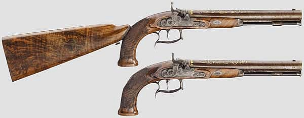 A pair of luxury percussion pistols with shoulder stock, Crause in Herzberg, dated 1819