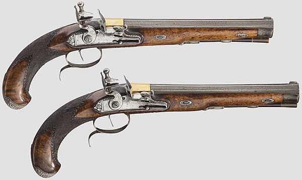 Ein Paar silbermontierte Steinschlosspistolen, M.H. Rasch in Braunschweig, um 1810