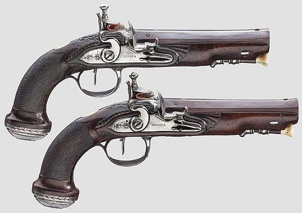 Ein Paar Steinschlosspistolen, Desaca, Lüttich/St. Etienne um 1800