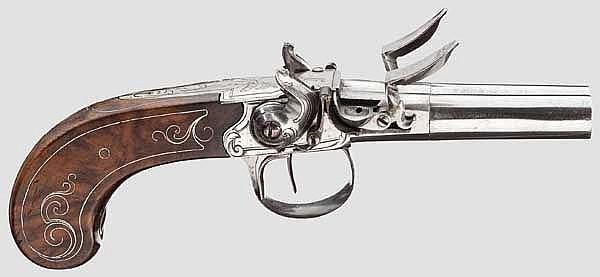 Doppelläufige Steinschlosspistole, Lüttich um 1800