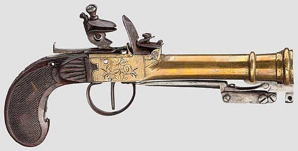 Steinschloss-Tromblonpistole mit Springbajonett, Lüttich um 1800