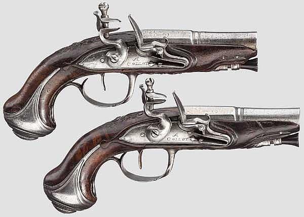 Ein Paar Steinschloss-Taschenpistolen, Collot, Paris um 1800