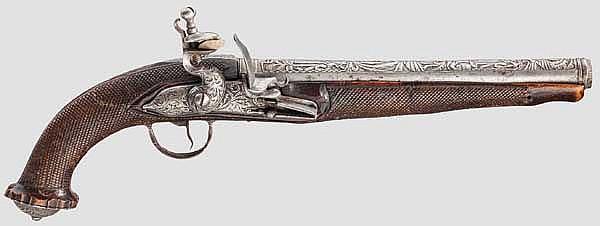Eisengeschnittene Steinschlosspistole, koloniale spanische(?) Arbeit um 1800