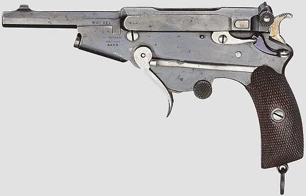 Bergmann Mod. 1896 Nr. 2, mit Klappabzug, Laderahmen und Tasche