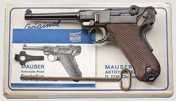 A Parabellum Mauser Mod. 06/73, in its carton