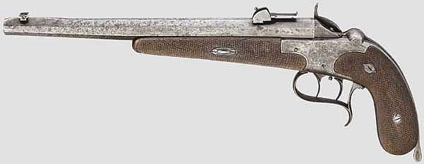 Scheibenpistole System Schulhoff, F. Denh, Wien, ohne Nr., um 1895