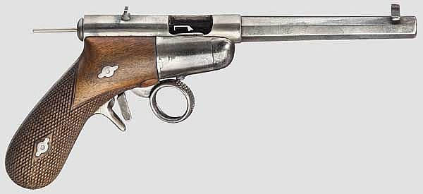 A Schulhof repeating pistol mod. 1887 (1888), nickel-plated