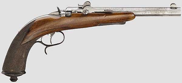 Kleinkalibrige Sportpistole für starke Patronen, um 1875