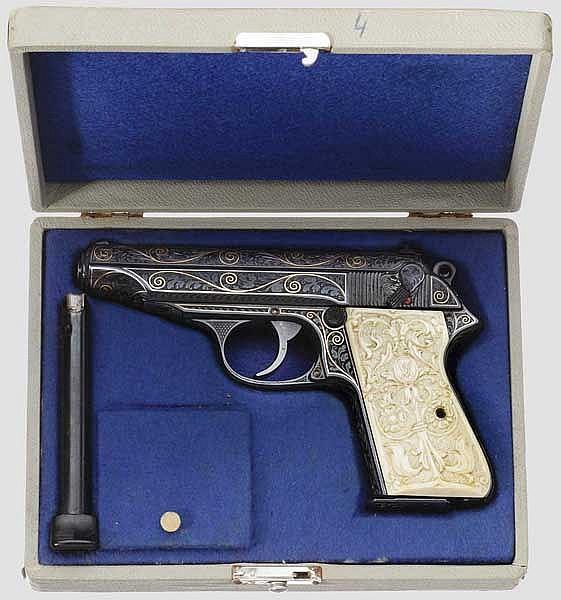 Walther PP, ZM, gravierte Luxusausführung, in Schatulle