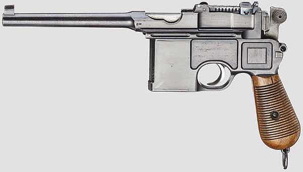 Mauser C 96 Conehammer, mit Kasten, um 1898