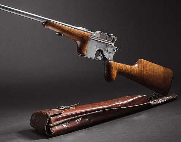An original long-barrelled Mauser C 96 self-loading hunting carbine, with carry bag, circa 1905