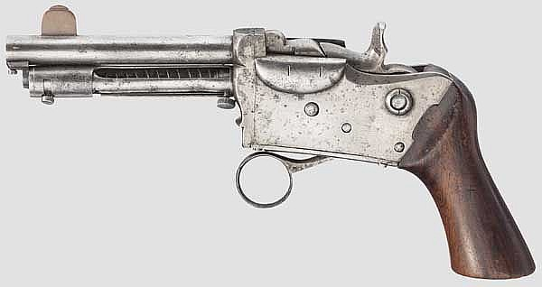 A Berger repeating pistol, St. Etienne circa 1880