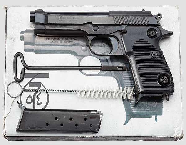 Pistole Helwan, im Karton