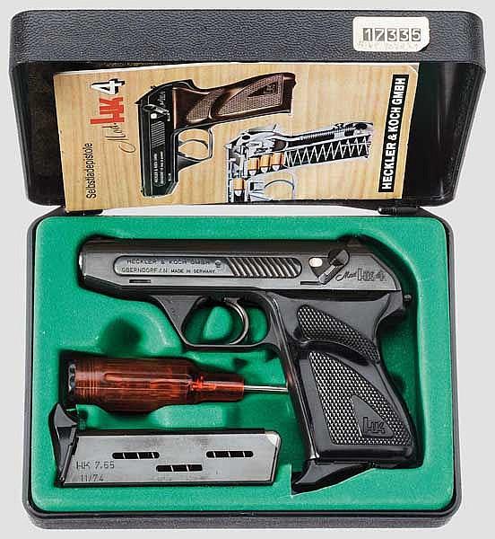 Heckler & Koch Mod. HK 4, mit drei Wechselläufen, in zwei Boxen