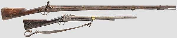 Muskete und Musketon, deutsch und französisch um 1800 bzw. um 1830