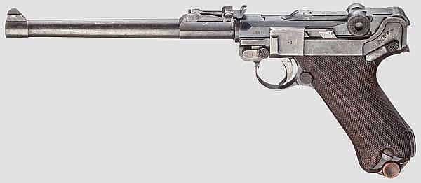 Lange Pistole 08, DWM 1918, im Kasten mit allem Zubehör