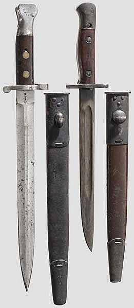 2 Bajonette Patt. 1888 Mk I Typ 2 und Lithgow