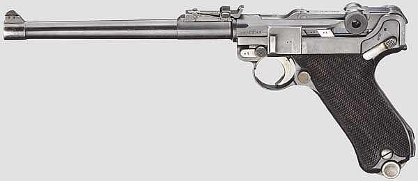 Lange Pistole 08, Mauser 1935/36, mit Anschlagschaft, Tasche und Beriemung