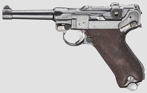 Pistole 08, Erfurt 1917, Polizei Weimar, beide Sicherungen