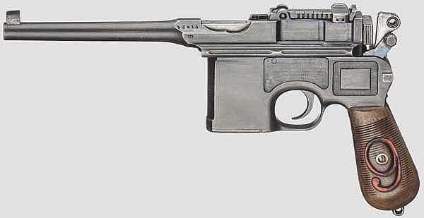 Mauser C96/16, mit Kasten und Belederung